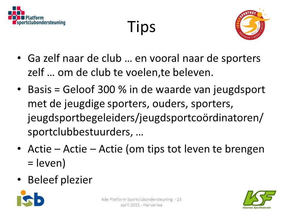 Tips Ga zelf naar de club … en vooral naar de sporters zelf … om de club te voelen,te beleven. Basis = Geloof 300 % in de waarde van jeugdsport met de