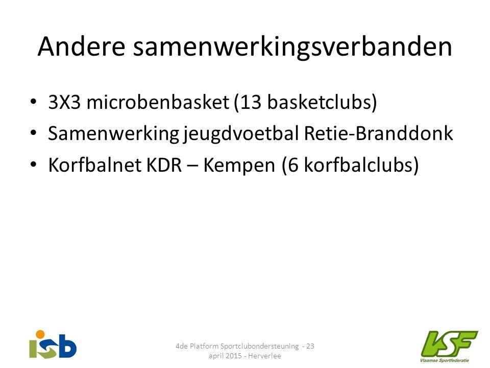 Andere samenwerkingsverbanden 3X3 microbenbasket (13 basketclubs) Samenwerking jeugdvoetbal Retie-Branddonk Korfbalnet KDR – Kempen (6 korfbalclubs) 4
