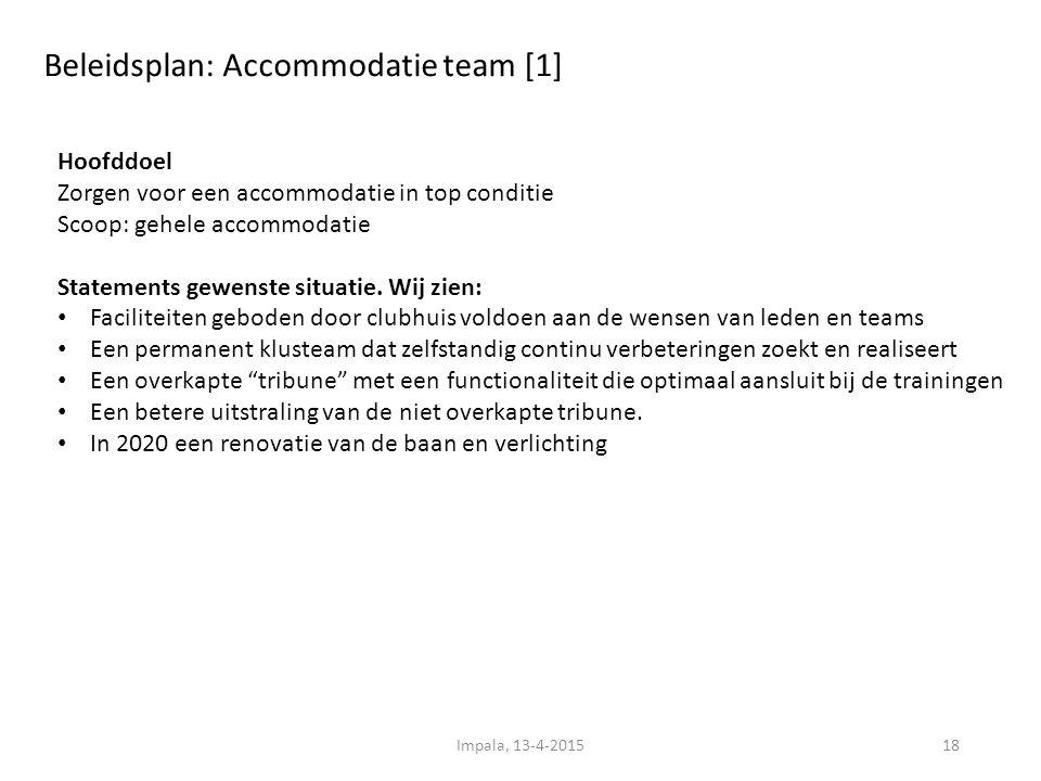 Beleidsplan: Accommodatie team [1] 18 Hoofddoel Zorgen voor een accommodatie in top conditie Scoop: gehele accommodatie Statements gewenste situatie.