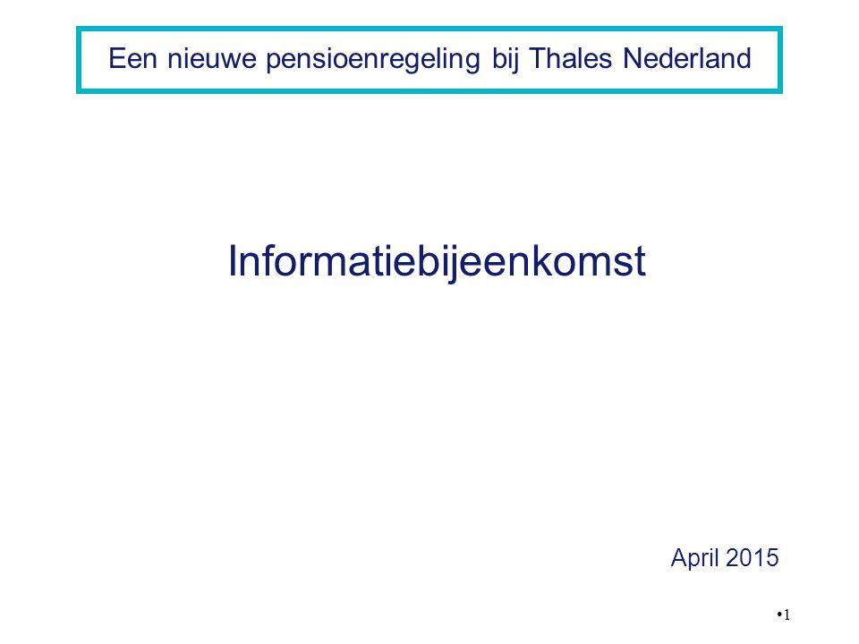 12 Een nieuwe pensioenregeling bij Thales Nederland Pensioen opbouw wordt verlaagd van 1,9% naar 1,875% Franchise wordt in 5 jaar met € 1.000 verlaagd het bedrag waarover pensioen wordt opgebouwd wordt groter Pensioenopbouw tot pensioengevend salaris EUR 100.000 Pensioenopbouw tot 67 of indien eerder AOW-datum De effecten van de nieuwe pensioenregeling opbouwpercentage