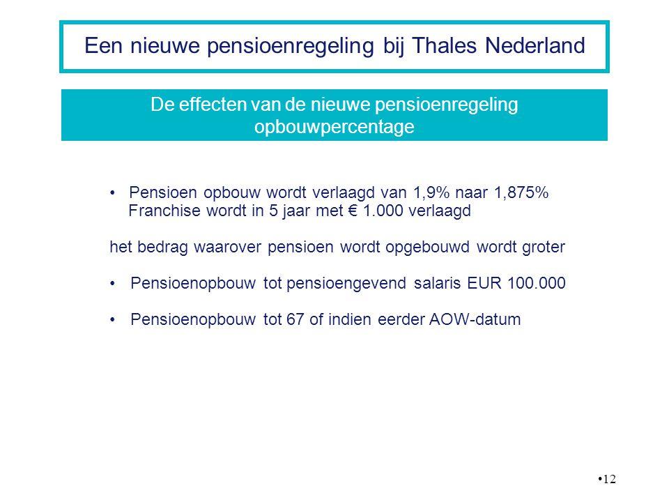 12 Een nieuwe pensioenregeling bij Thales Nederland Pensioen opbouw wordt verlaagd van 1,9% naar 1,875% Franchise wordt in 5 jaar met € 1.000 verlaagd