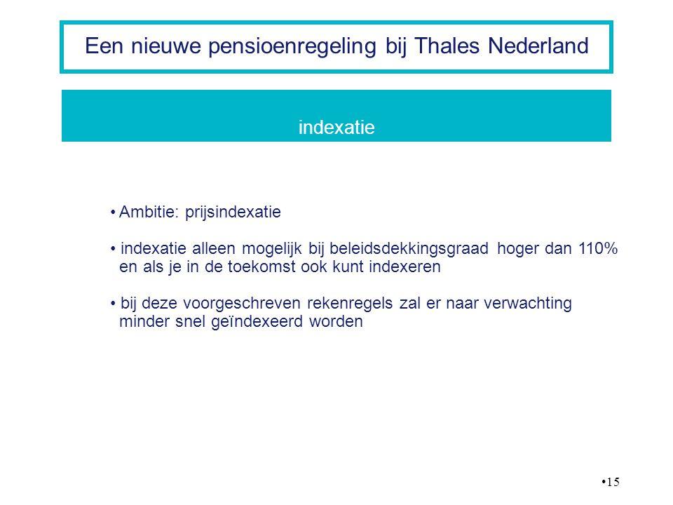 15 Een nieuwe pensioenregeling bij Thales Nederland Ambitie: prijsindexatie indexatie alleen mogelijk bij beleidsdekkingsgraad hoger dan 110% en als j