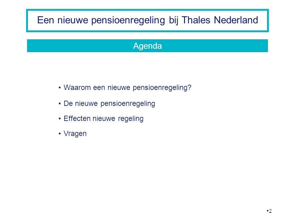 13 Een nieuwe pensioenregeling bij Thales Nederland Kabinet beëindigt belastingaftrek voor pensioenpremie voor inkomens boven € 100.000 Compensatieregeling voor iedereen met inkomen boven € 100.000 - bruto compensatie (het werkgeverdeel van de pensioenpremie wordt als bruto compensatie uitgekeerd) - mogelijkheid tot deelname aan nettopensioen regeling en dekkings overlijdensrisico boven € 100.000 bij Aegon De effecten van de nieuwe pensioenregeling 100K