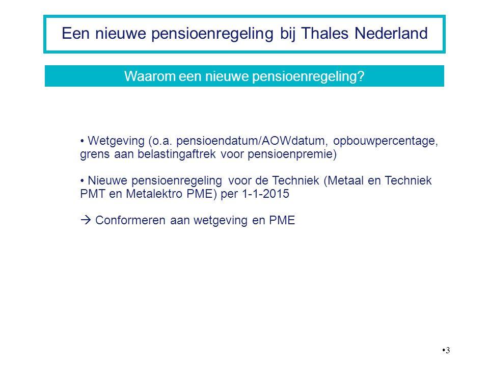 4 Een nieuwe pensioenregeling bij Thales Nederland Pensioenrichtleeftijd in 2015 naar 67 jaar Opbouwperiode wordt langer, opbouwpercentage lager: maximaal 1,875% per jaar Kabinet beëindigt belastingaftrek voor pensioenpremie voor inkomens boven € 100.000 Alle oude pensioenen mogen omgezet worden naar de nieuwe pensioendatum van 67 jaar De deelnemer kan dit individueel weer vervroegen naar gewenste pensioendatum  de speelruimte wordt kleiner door de nieuwe wet- en regelgeving De nieuwe pensioenregeling Wetgeving