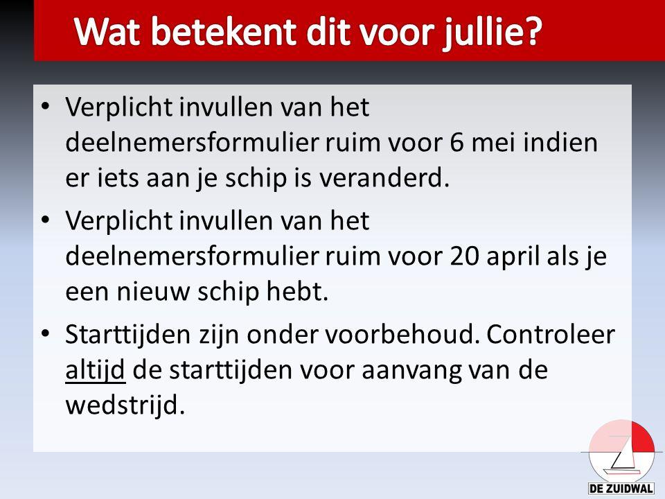 Verplicht invullen van het deelnemersformulier ruim voor 6 mei indien er iets aan je schip is veranderd. Verplicht invullen van het deelnemersformulie