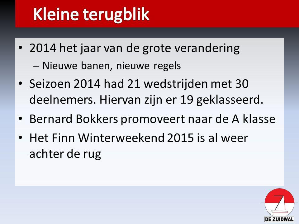 2014 het jaar van de grote verandering – Nieuwe banen, nieuwe regels Seizoen 2014 had 21 wedstrijden met 30 deelnemers. Hiervan zijn er 19 geklasseerd