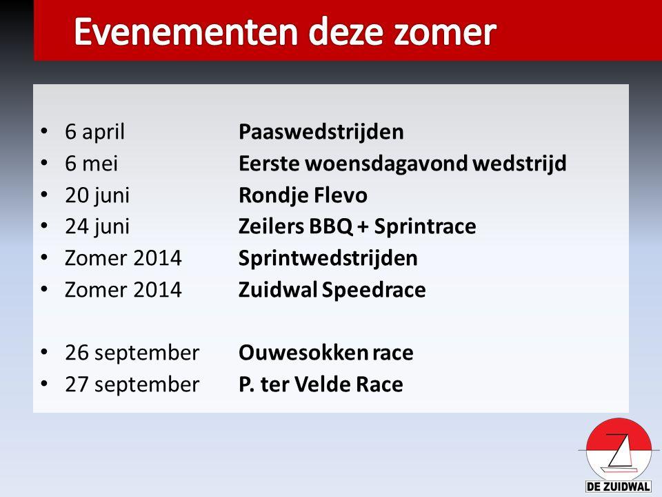 6 april Paaswedstrijden 6 meiEerste woensdagavond wedstrijd 20 juniRondje Flevo 24 juniZeilers BBQ + Sprintrace Zomer 2014Sprintwedstrijden Zomer 2014Zuidwal Speedrace 26 septemberOuwesokken race 27 septemberP.