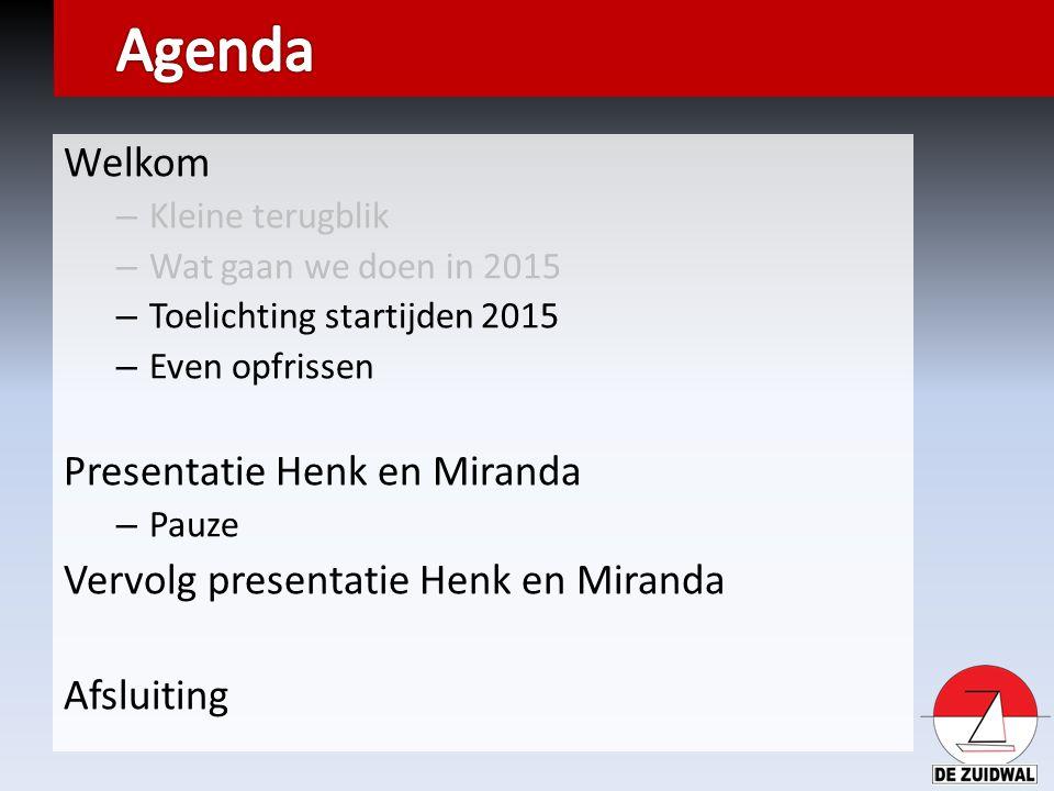 Welkom – Kleine terugblik – Wat gaan we doen in 2015 – Toelichting startijden 2015 – Even opfrissen Presentatie Henk en Miranda – Pauze Vervolg presen