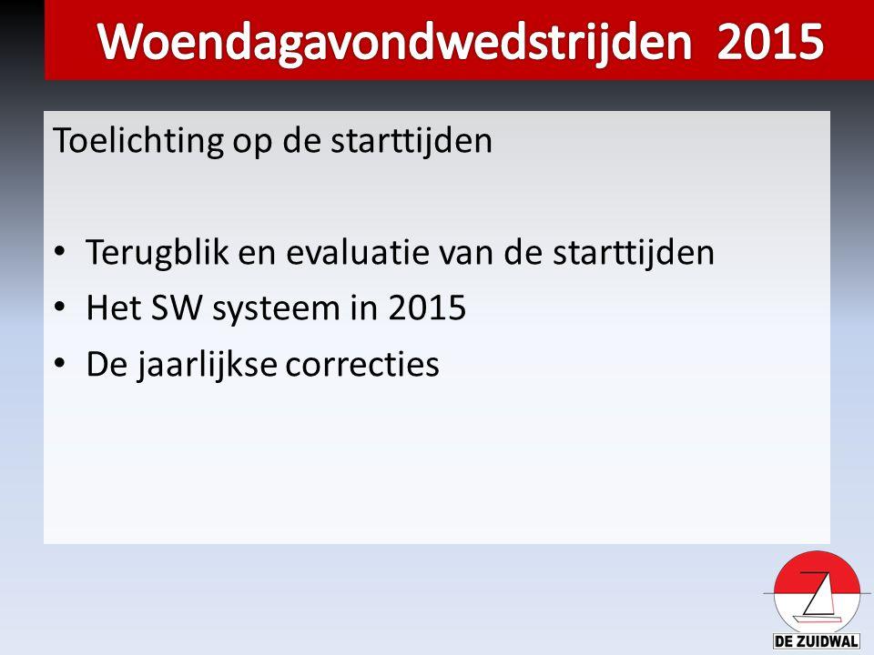Toelichting op de starttijden Terugblik en evaluatie van de starttijden Het SW systeem in 2015 De jaarlijkse correcties