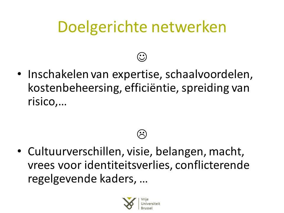 Doelgerichte netwerken Inschakelen van expertise, schaalvoordelen, kostenbeheersing, efficiëntie, spreiding van risico,…  Cultuurverschillen, visie,