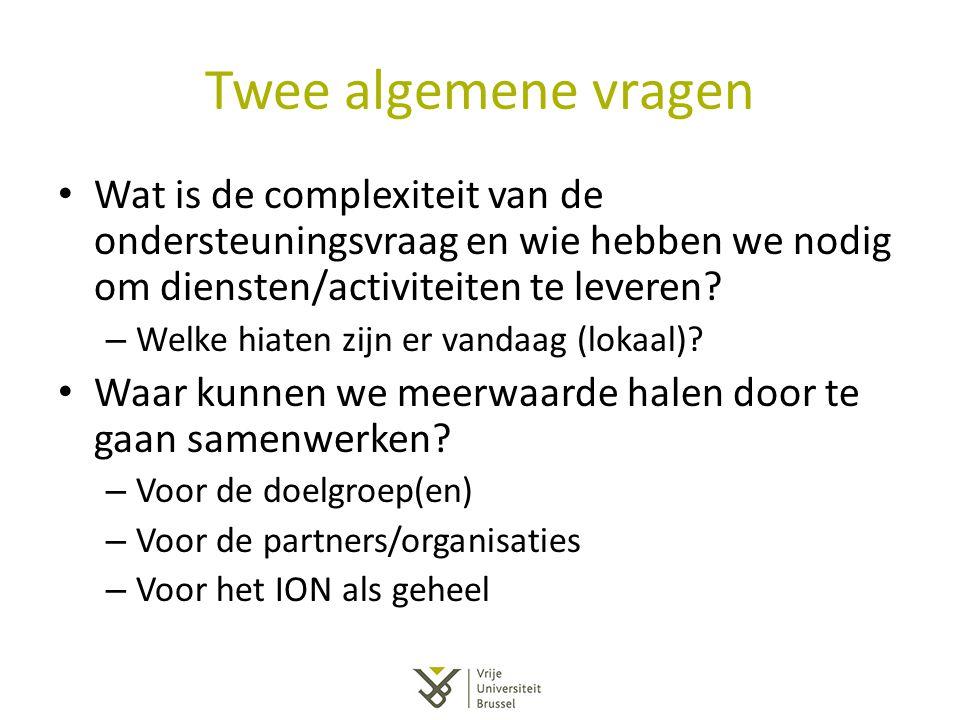 Twee algemene vragen Wat is de complexiteit van de ondersteuningsvraag en wie hebben we nodig om diensten/activiteiten te leveren? – Welke hiaten zijn