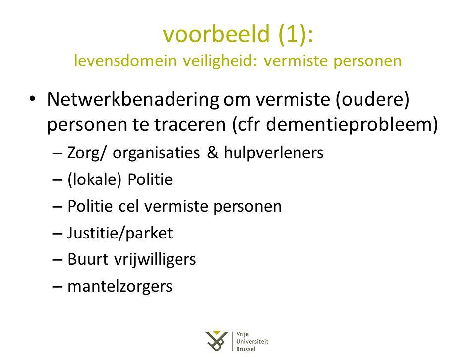 voorbeeld (1): levensdomein veiligheid: vermiste personen Netwerkbenadering om vermiste (oudere) personen te traceren (cfr dementieprobleem) – Zorg/ o