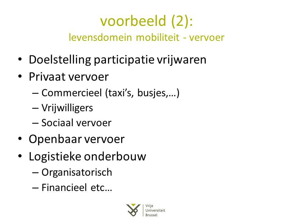 voorbeeld (2): levensdomein mobiliteit - vervoer Doelstelling participatie vrijwaren Privaat vervoer – Commercieel (taxi's, busjes,…) – Vrijwilligers