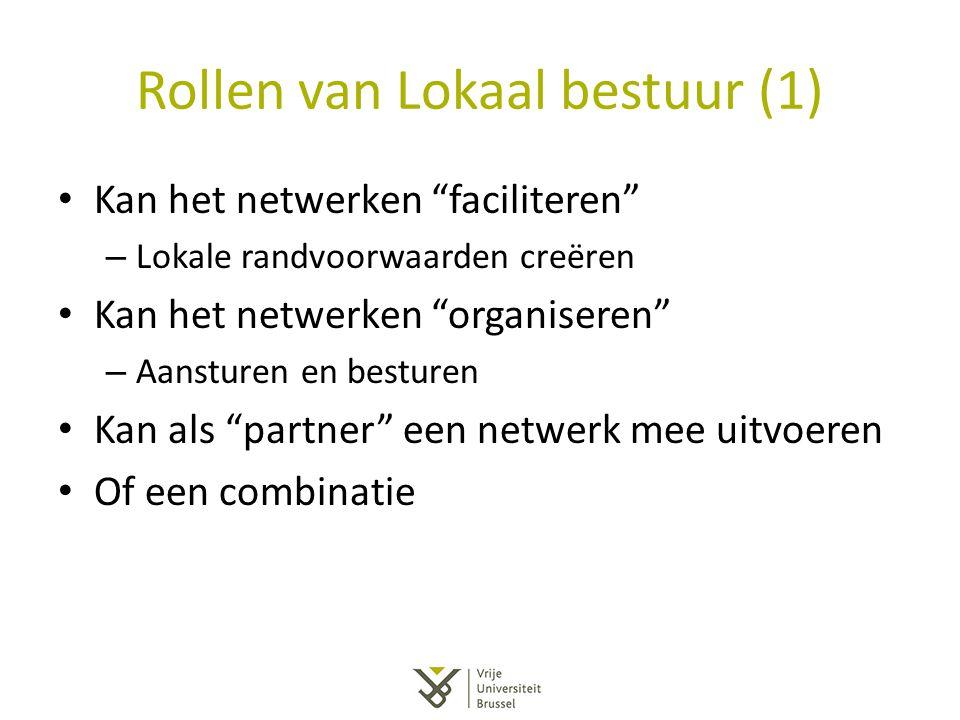 """Rollen van Lokaal bestuur (1) Kan het netwerken """"faciliteren"""" – Lokale randvoorwaarden creëren Kan het netwerken """"organiseren"""" – Aansturen en besturen"""