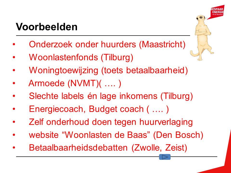 Voorbeelden Onderzoek onder huurders (Maastricht) Woonlastenfonds (Tilburg) Woningtoewijzing (toets betaalbaarheid) Armoede (NVMT)( …. ) Slechte label