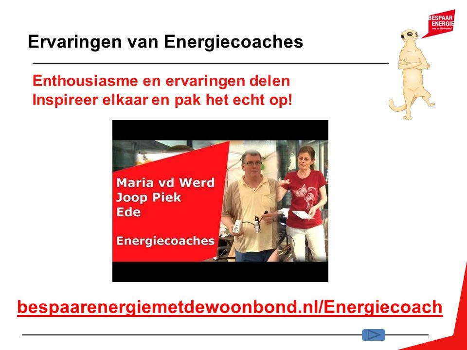Enthousiasme en ervaringen delen Inspireer elkaar en pak het echt op! Ervaringen van Energiecoaches bespaarenergiemetdewoonbond.nl/Energiecoach