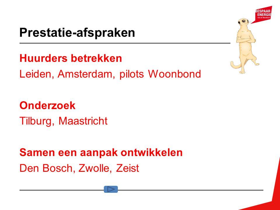 Prestatie-afspraken Huurders betrekken Leiden, Amsterdam, pilots Woonbond Onderzoek Tilburg, Maastricht Samen een aanpak ontwikkelen Den Bosch, Zwolle
