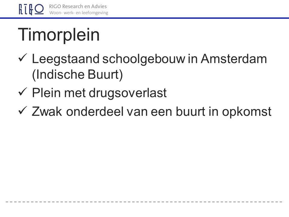 Leegstaand schoolgebouw in Amsterdam (Indische Buurt) Plein met drugsoverlast Zwak onderdeel van een buurt in opkomst Timorplein