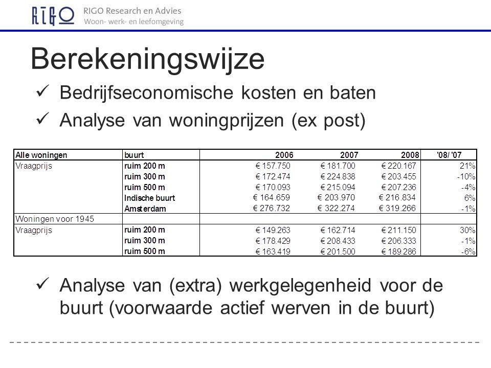 Bedrijfseconomische kosten en baten Analyse van woningprijzen (ex post) Analyse van (extra) werkgelegenheid voor de buurt (voorwaarde actief werven in de buurt) Berekeningswijze