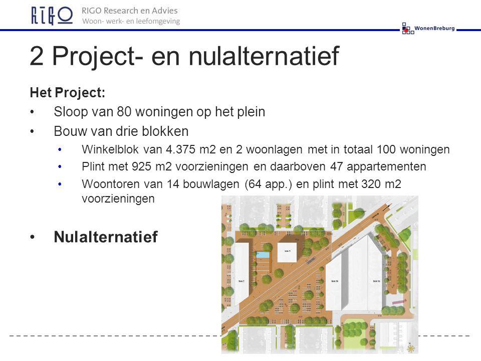 Het Project: Sloop van 80 woningen op het plein Bouw van drie blokken Winkelblok van 4.375 m2 en 2 woonlagen met in totaal 100 woningen Plint met 925 m2 voorzieningen en daarboven 47 appartementen Woontoren van 14 bouwlagen (64 app.) en plint met 320 m2 voorzieningen Nulalternatief 2 Project- en nulalternatief