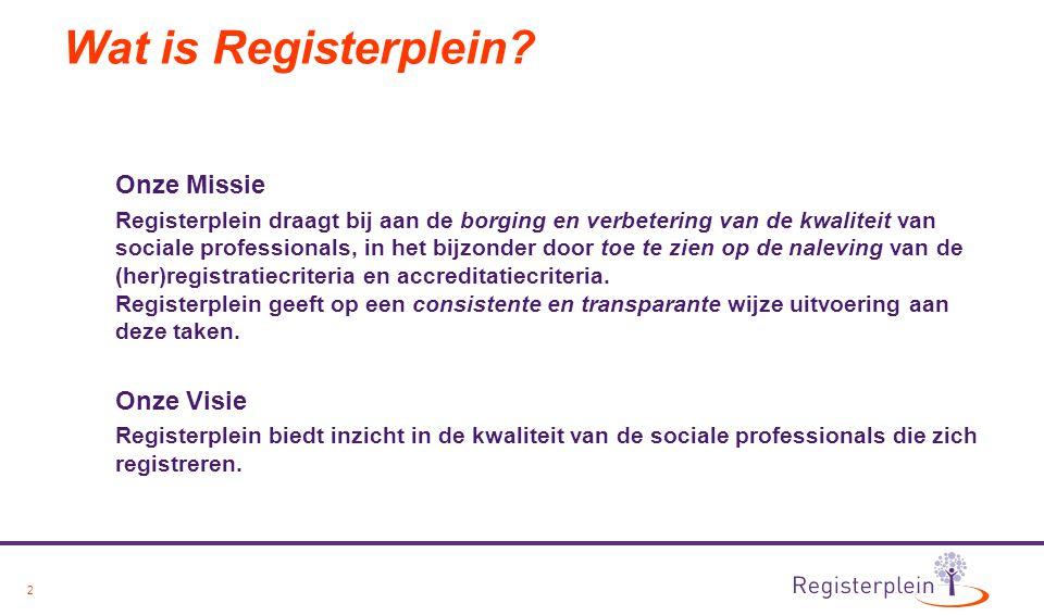 2 Wat is Registerplein? Onze Missie Registerplein draagt bij aan de borging en verbetering van de kwaliteit van sociale professionals, in het bijzonde