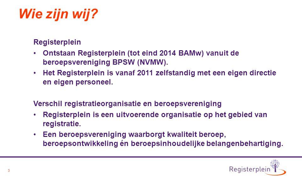 3 Wie zijn wij? Registerplein Ontstaan Registerplein (tot eind 2014 BAMw) vanuit de beroepsvereniging BPSW (NVMW). Het Registerplein is vanaf 2011 zel