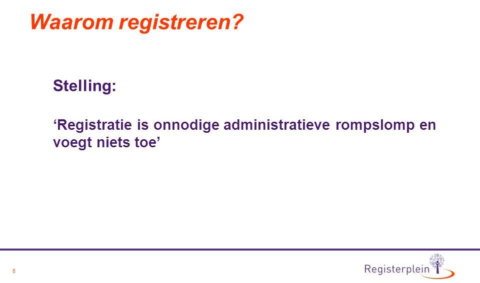 5 Waarom registreren? Stelling: 'Registratie is onnodige administratieve rompslomp en voegt niets toe'