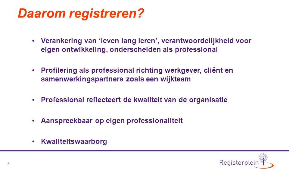 6 Daarom registreren? Verankering van 'leven lang leren', verantwoordelijkheid voor eigen ontwikkeling, onderscheiden als professional Profilering als