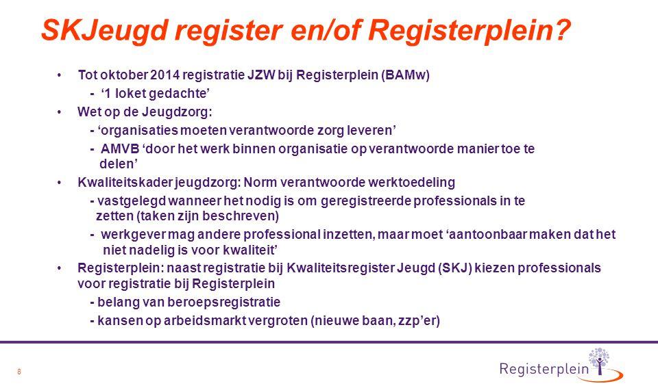 8 SKJeugd register en/of Registerplein? Tot oktober 2014 registratie JZW bij Registerplein (BAMw) - '1 loket gedachte' Wet op de Jeugdzorg: - 'organis