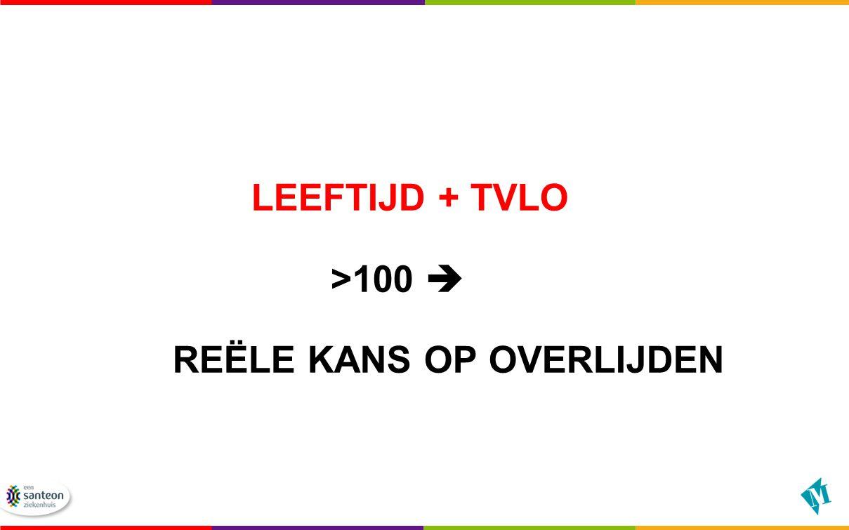 LEEFTIJD + TVLO >100  REËLE KANS OP OVERLIJDEN