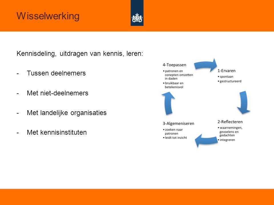 13 Wisselwerking Kennisdeling, uitdragen van kennis, leren: -Tussen deelnemers -Met niet-deelnemers -Met landelijke organisaties -Met kennisinstituten