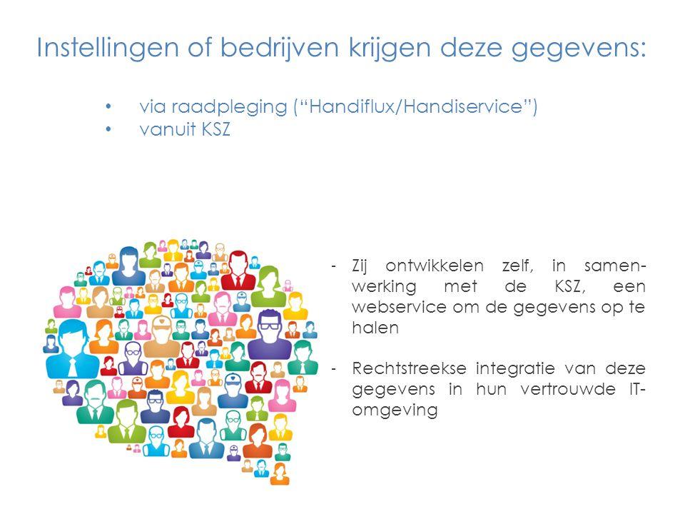 Instellingen of bedrijven krijgen deze gegevens: via raadpleging ( Handiflux/Handiservice ) vanuit KSZ -Zij ontwikkelen zelf, in samen- werking met de KSZ, een webservice om de gegevens op te halen -Rechtstreekse integratie van deze gegevens in hun vertrouwde IT- omgeving