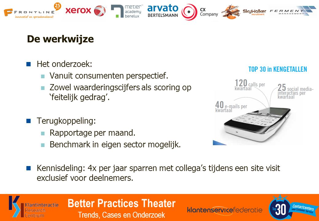 Better Practices Theater Trends, Cases en Onderzoek De werkwijze Het onderzoek: Vanuit consumenten perspectief.