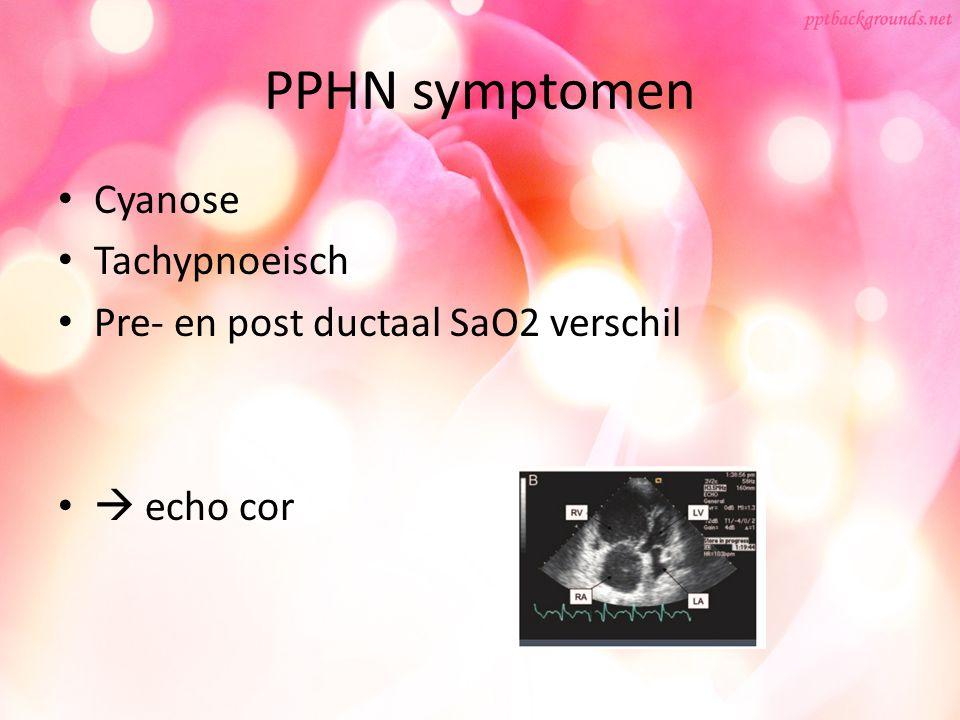 PPHN symptomen Cyanose Tachypnoeisch Pre- en post ductaal SaO2 verschil  echo cor