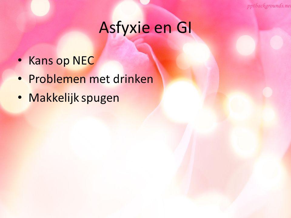 Asfyxie en GI Kans op NEC Problemen met drinken Makkelijk spugen