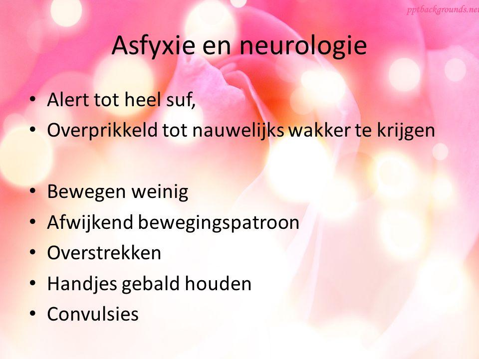 Asfyxie en neurologie Alert tot heel suf, Overprikkeld tot nauwelijks wakker te krijgen Bewegen weinig Afwijkend bewegingspatroon Overstrekken Handjes