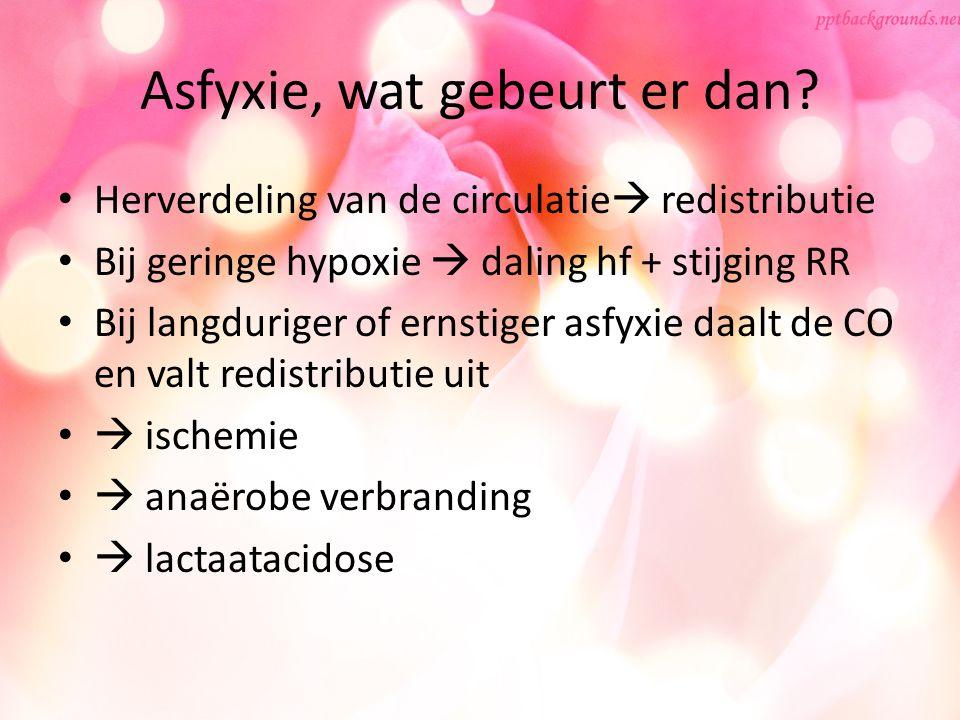 Asfyxie, wat gebeurt er dan? Herverdeling van de circulatie  redistributie Bij geringe hypoxie  daling hf + stijging RR Bij langduriger of ernstiger