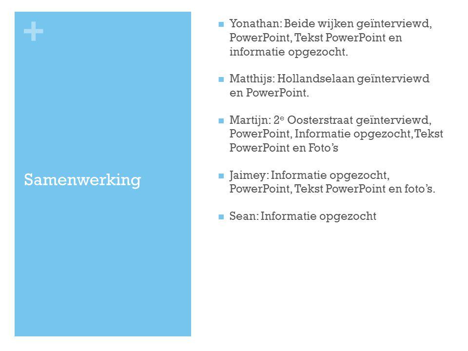 + Samenwerking Yonathan: Beide wijken geïnterviewd, PowerPoint, Tekst PowerPoint en informatie opgezocht. Matthijs: Hollandselaan geïnterviewd en Powe