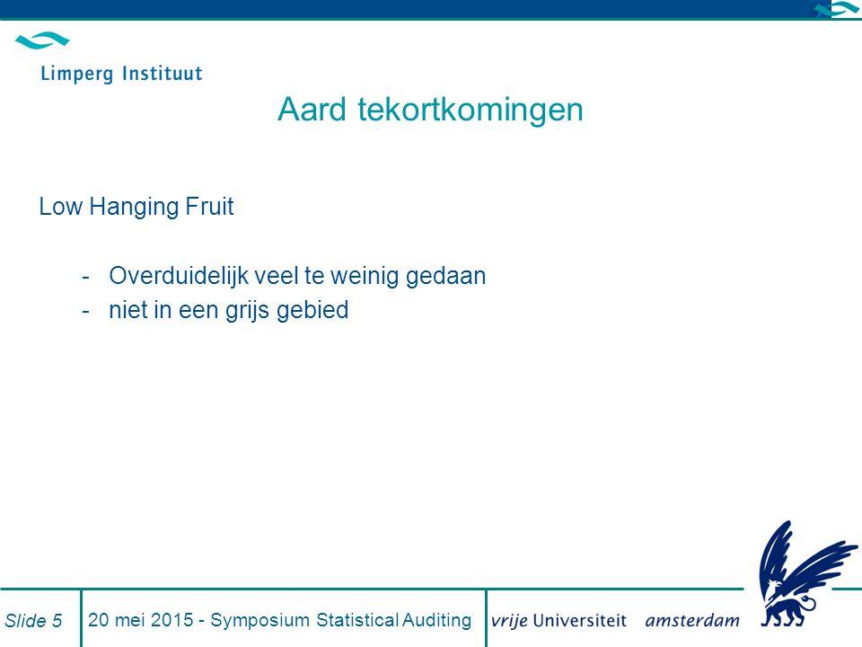 20 mei 2015 - Symposium Statistical Auditing Slide 5 Aard tekortkomingen Low Hanging Fruit -Overduidelijk veel te weinig gedaan -niet in een grijs gebied