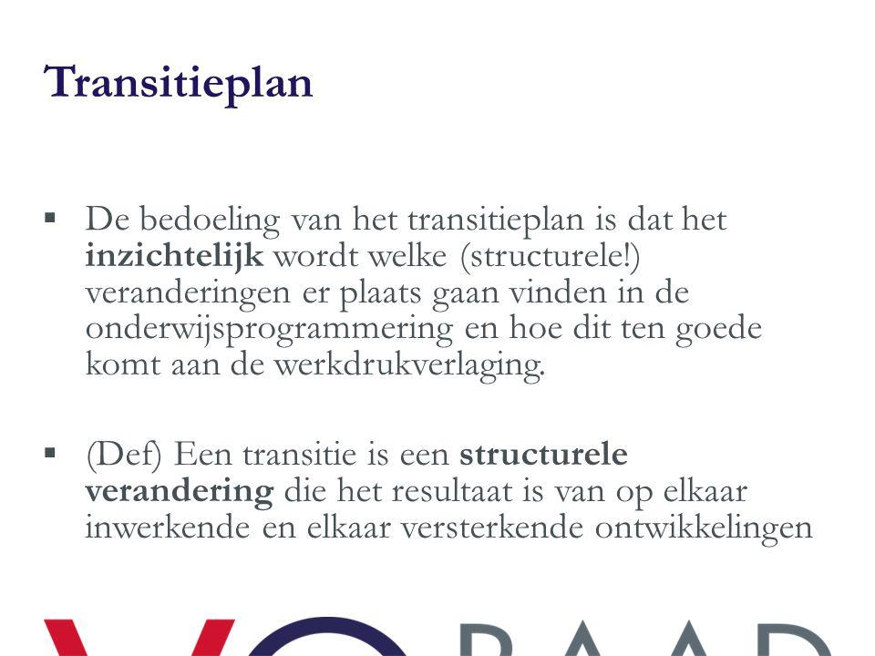 Transitieplan  De bedoeling van het transitieplan is dat het inzichtelijk wordt welke (structurele!) veranderingen er plaats gaan vinden in de onderw