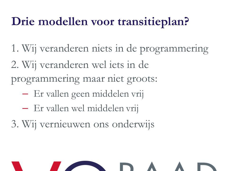 Drie modellen voor transitieplan? 1. Wij veranderen niets in de programmering 2. Wij veranderen wel iets in de programmering maar niet groots: – Er va