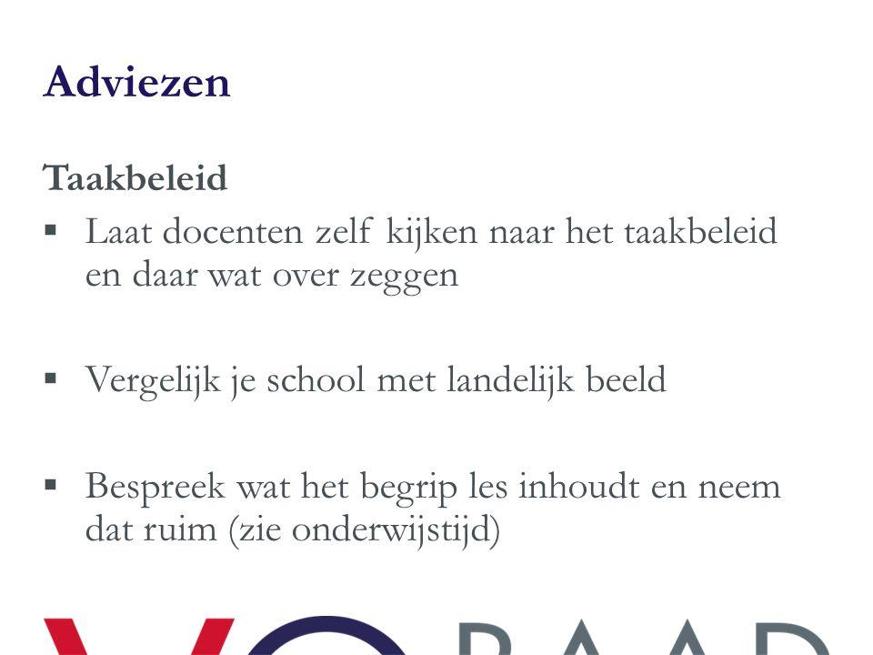 Adviezen Taakbeleid  Laat docenten zelf kijken naar het taakbeleid en daar wat over zeggen  Vergelijk je school met landelijk beeld  Bespreek wat h
