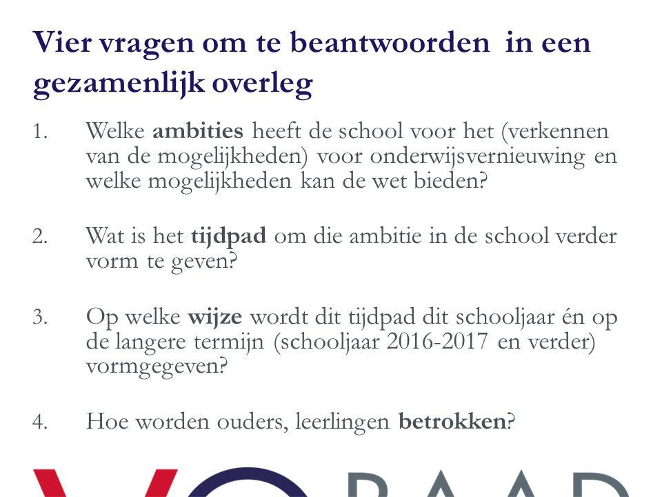 Vier vragen om te beantwoorden in een gezamenlijk overleg 1. Welke ambities heeft de school voor het (verkennen van de mogelijkheden) voor onderwijsve