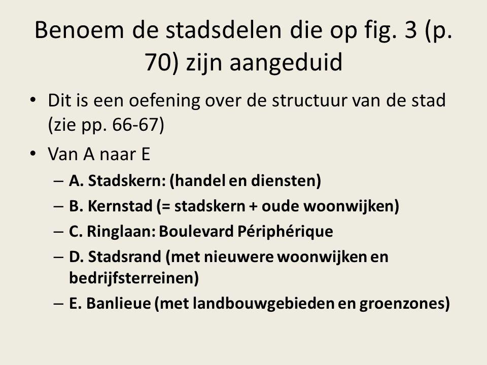 Benoem de stadsdelen die op fig. 3 (p. 70) zijn aangeduid Dit is een oefening over de structuur van de stad (zie pp. 66-67) Van A naar E – A. Stadsker