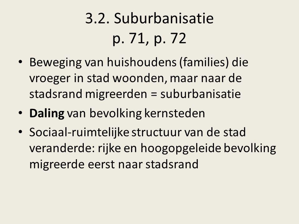 3.2. Suburbanisatie p. 71, p. 72 Beweging van huishoudens (families) die vroeger in stad woonden, maar naar de stadsrand migreerden = suburbanisatie D