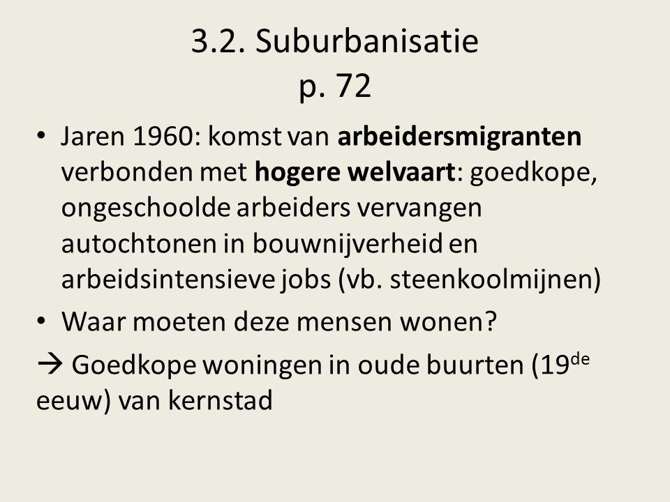 3.2. Suburbanisatie p. 72 Jaren 1960: komst van arbeidersmigranten verbonden met hogere welvaart: goedkope, ongeschoolde arbeiders vervangen autochton