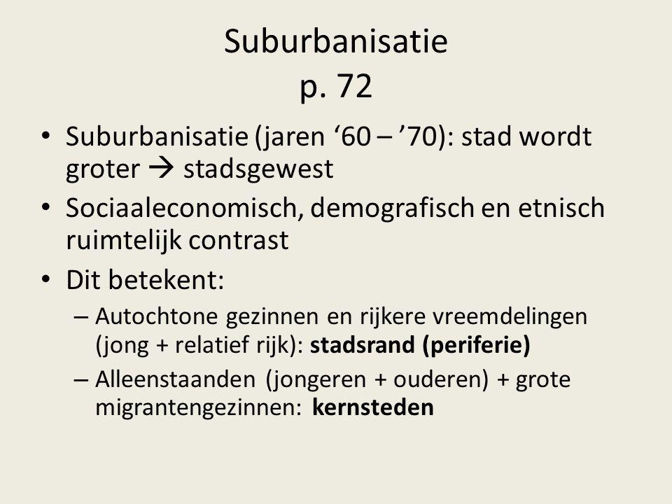 Suburbanisatie p. 72 Suburbanisatie (jaren '60 – '70): stad wordt groter  stadsgewest Sociaaleconomisch, demografisch en etnisch ruimtelijk contrast