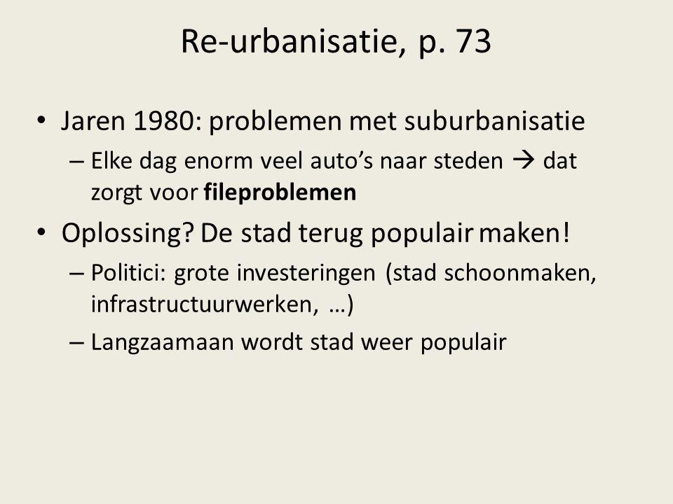 Re-urbanisatie, p. 73 Jaren 1980: problemen met suburbanisatie – Elke dag enorm veel auto's naar steden  dat zorgt voor fileproblemen Oplossing? De s