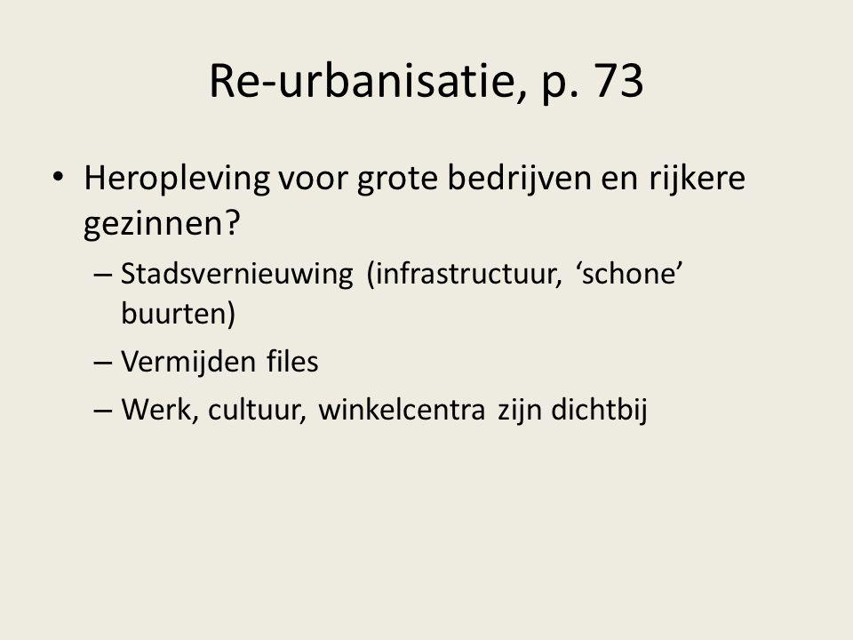 Re-urbanisatie, p. 73 Heropleving voor grote bedrijven en rijkere gezinnen? – Stadsvernieuwing (infrastructuur, 'schone' buurten) – Vermijden files –