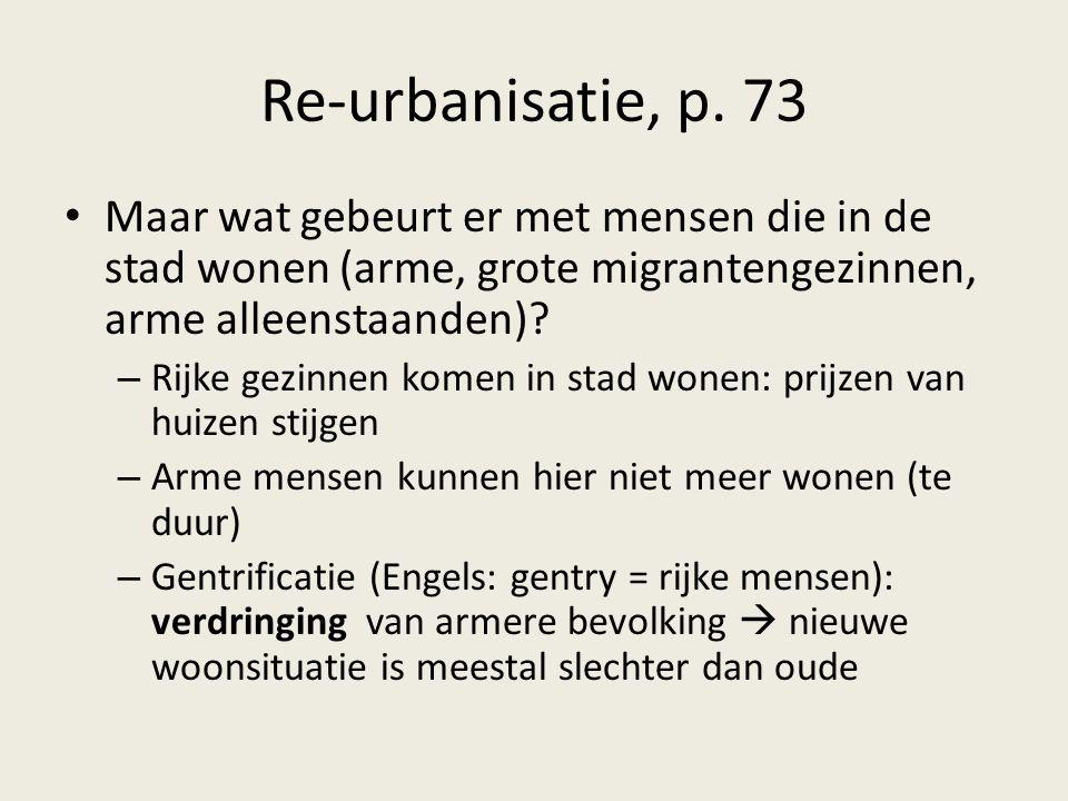 Re-urbanisatie, p. 73 Maar wat gebeurt er met mensen die in de stad wonen (arme, grote migrantengezinnen, arme alleenstaanden)? – Rijke gezinnen komen